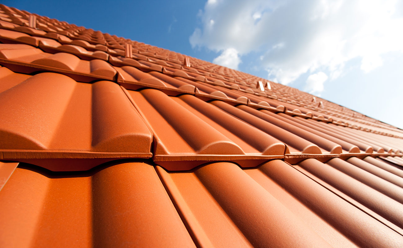 new clay roof tiles installed